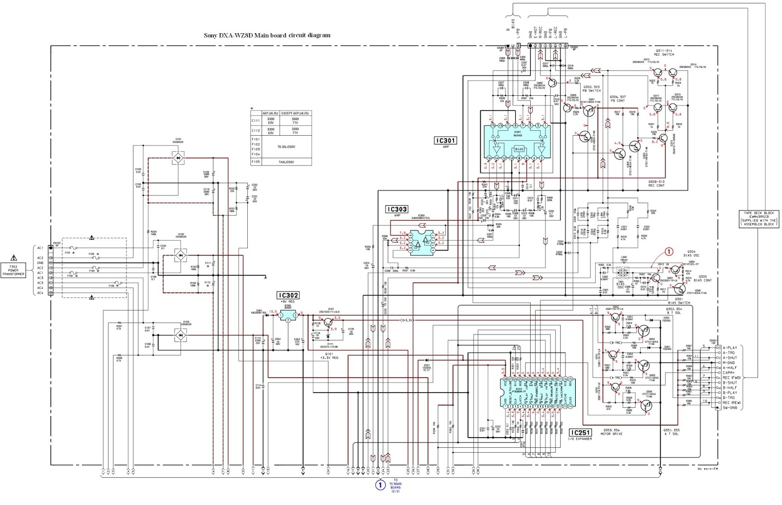 sony dxa wz8d main board circuit diagram 1of 2 [ 1600 x 1034 Pixel ]