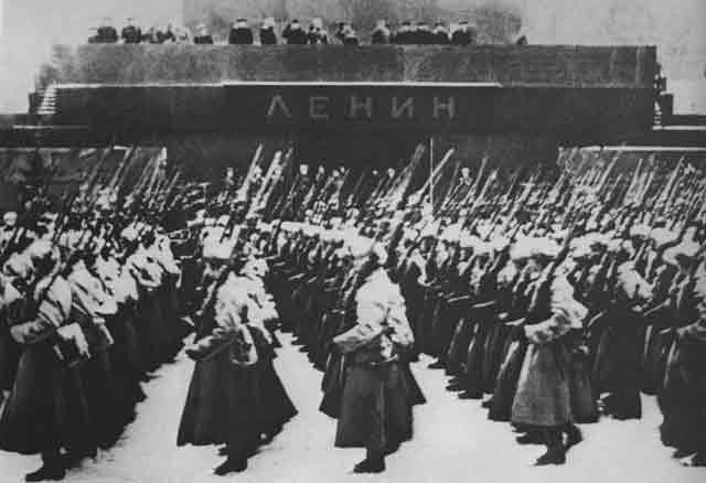 Stalin at the military parade through Moscow's Red Square, 7 November 1941 worldwartwo.filminspector.com