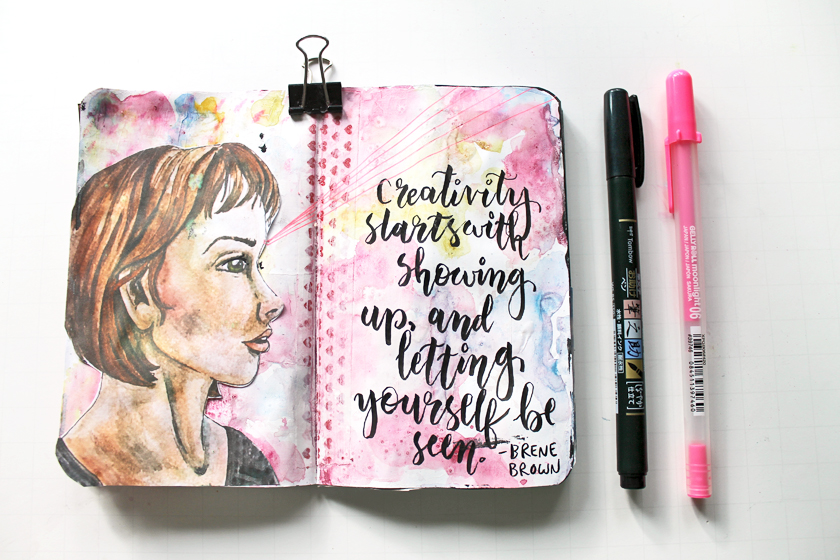 "My brain had a hiccup when I created this page. The quote by Brene Brown is originally ""Courage stats with showing up and letting yourself be seen."".  But for some reason when I was lettering it, my brain changed the word from ""courage"" to ""creativity"". I'm not sure why."