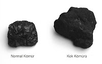 Normal kömür ve kok kömürü yan yana
