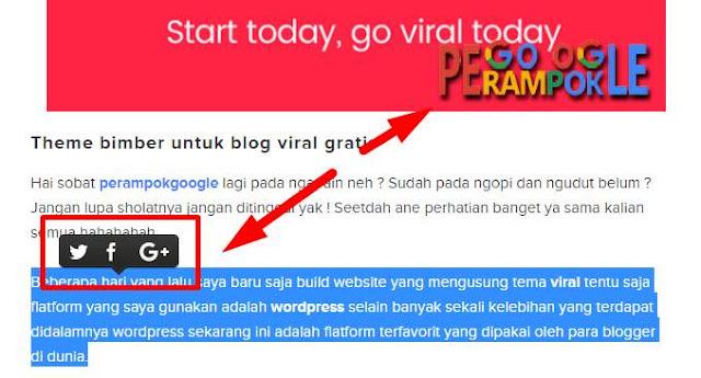 cara gampang membuat seleksi text postingan blogger  share