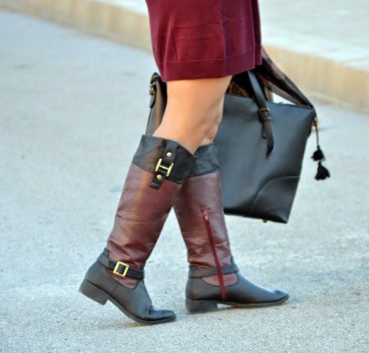 burgundy, borgoña, mi vestido azul, look. blogger, castellón , moda