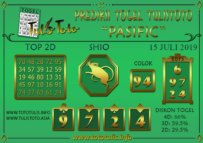 Prediksi Togel PASIFIC TULISTOTO 15 JULI 2019