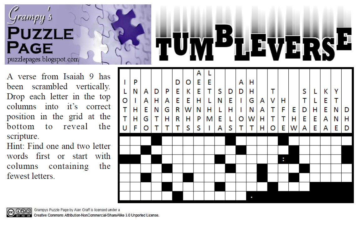 Grampy's Puzzle Page: Tumbleverse: Isaiah 9