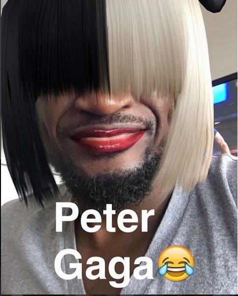 Lol. Peter Okoye in ladies' wig and makeup
