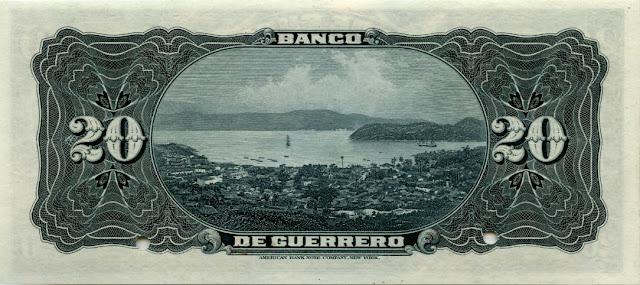 Mexican money currency 20 Pesos banknote Acapulco