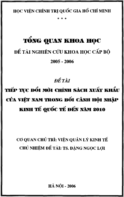 Tiếp tục đổi mới chính sách xuất khẩu của Việt Nam trong bối cảnh hội nhập kinh tế quốc tế đến năm 2010
