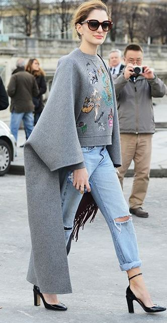 fashion trends / ripped jeans + printed sweatshirt + cashmere coat + heels