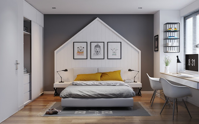 Cute and simple, this bedroom captures the imagination with a neat house-shaped headboard