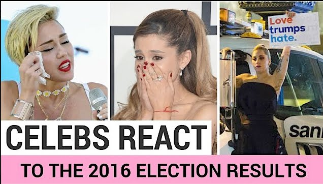 Miley Cyrus, Ariana and Lady Gaga reaction to Trump winning the election.