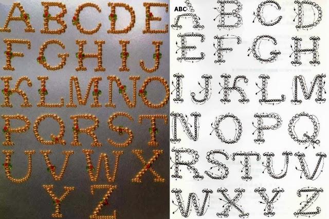 patrón, gráfico, abecedario, letras, mostacillas, bisutería, manualidades