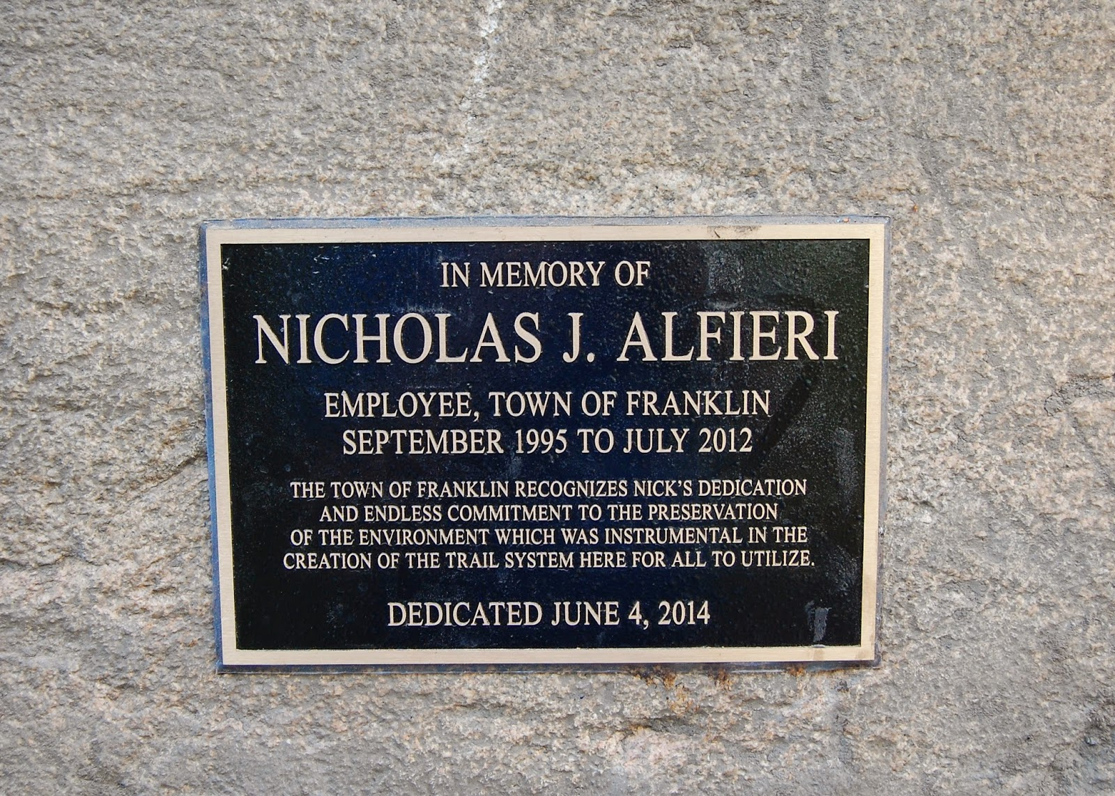 close up of the dedication to Nick Alfieri