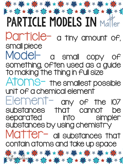 5E Science Model- Particle Models in Matter Vocabulary Poster