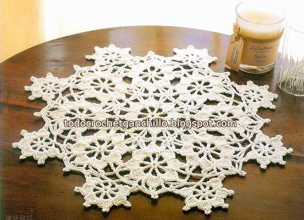 Carpeta de ganchillo con diseño de estrellas de nieve