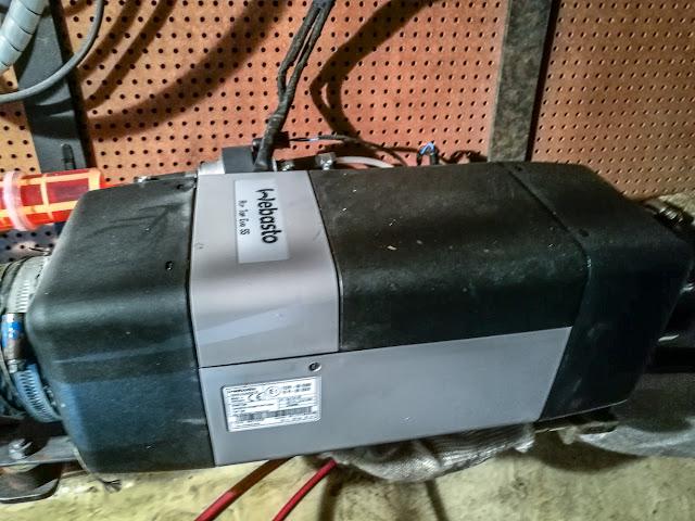 Photo of the Webasto 5 diesel heater that keeps us warm on board Ravensdale