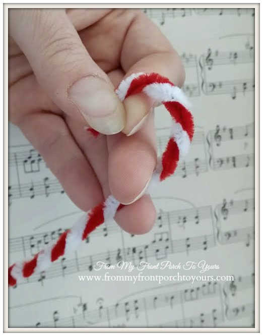 Vintage Inspired Candy Cane-31 Handmade Christmas Ornaments Blog Hop-Pipe Cleaner Candy Cane Tutorial- From My Front Porch To Yours