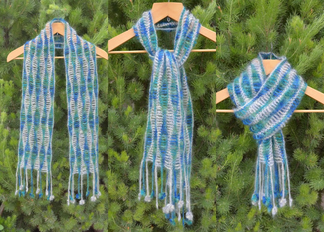 Sea Garden Scarf with greenery behind it. Three ways of wearing (demonstrated on coathangers): draped over the shoulders, a simple knot, folded and threaded.