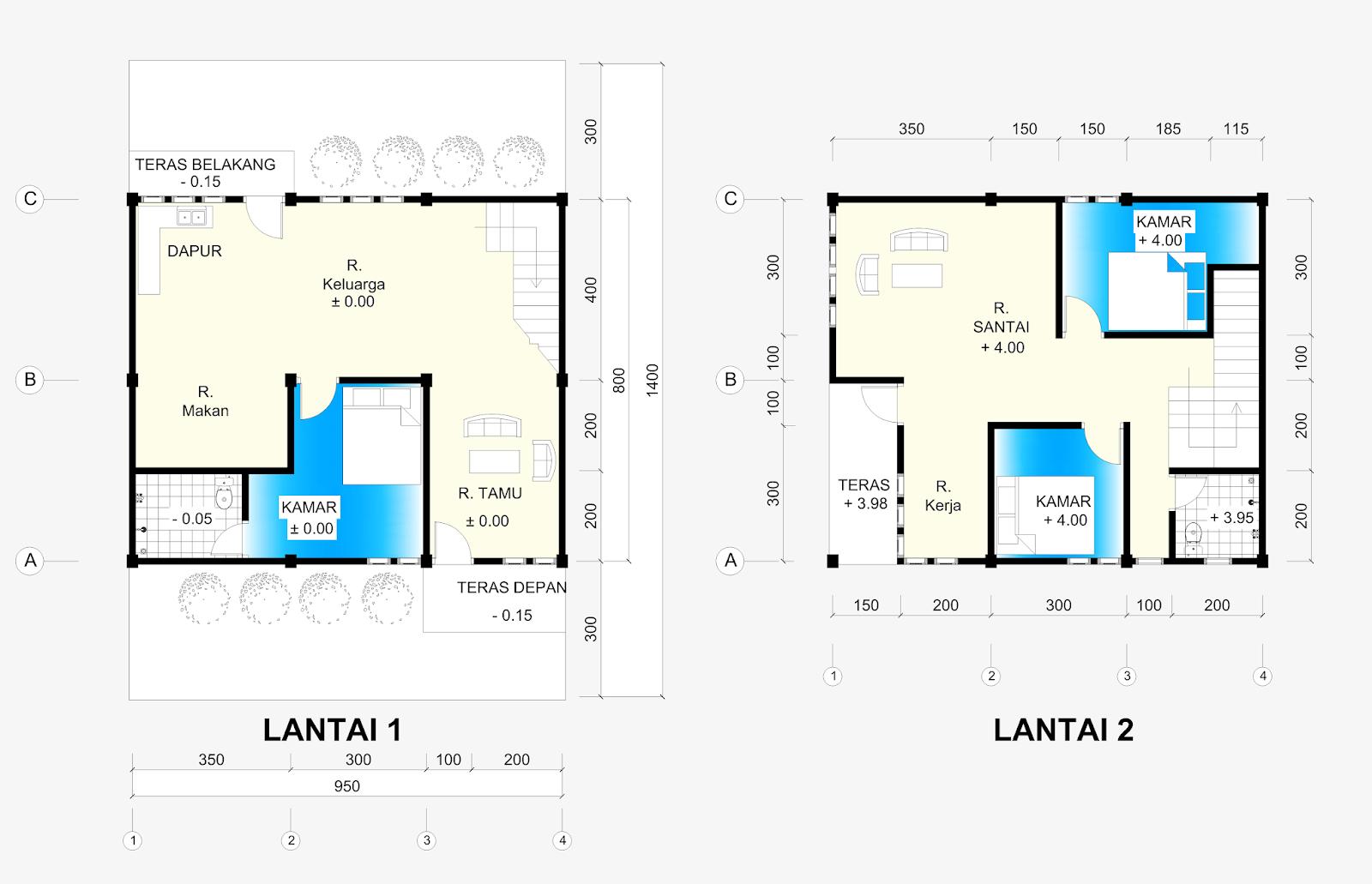 Denah Rumah 2 Lantai Ukuran 95 X 8 M Home Design And Ideas