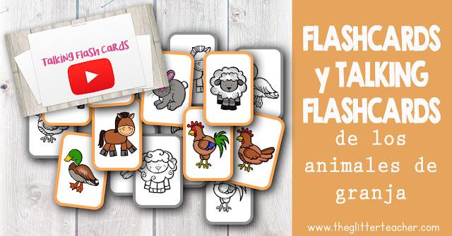 Tarjetas de vocabulario y Talking Flash cards de los animales de granja