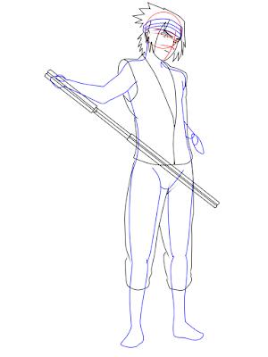 menggambar sasuke uchiha black costume langkah 14