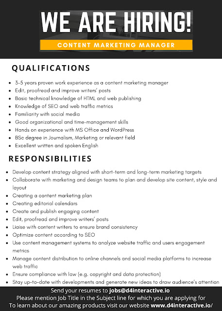 D4 Interactive Jobs - Software Engineer, Content Marketing Manager, Digital Marketing Manager - Islamabad - 2018