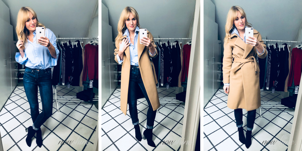 Wollmantel in Camel, Business-Bluse, Skinny Jeans und Sock-Boots