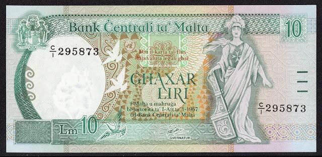 Malta Banknotes 10 Maltese Lira banknote 1989