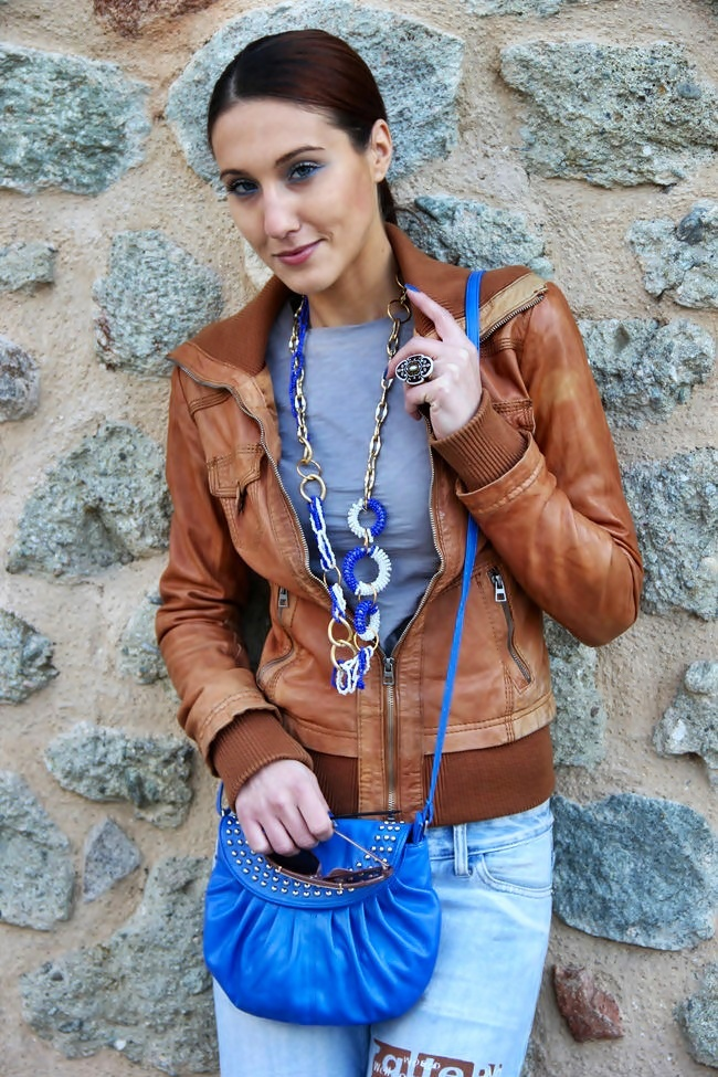 Bershka light brown leather jacket kozna jakna