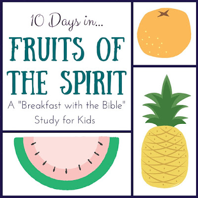 "A 10-Day ""Breakfast with the Bible"" Study over the Fruits of the Spirit for you and your little ones!  Includes a memory verse, discussion time, picture book, object lessons, and extension activities!"