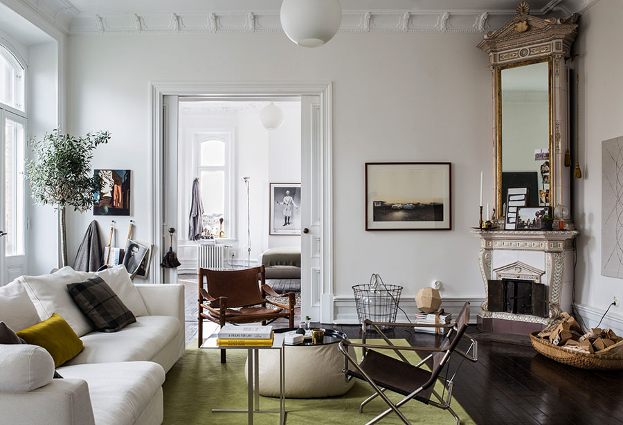 Scandinavian apartment, historical interior, home decor living room, fireplace, mirror