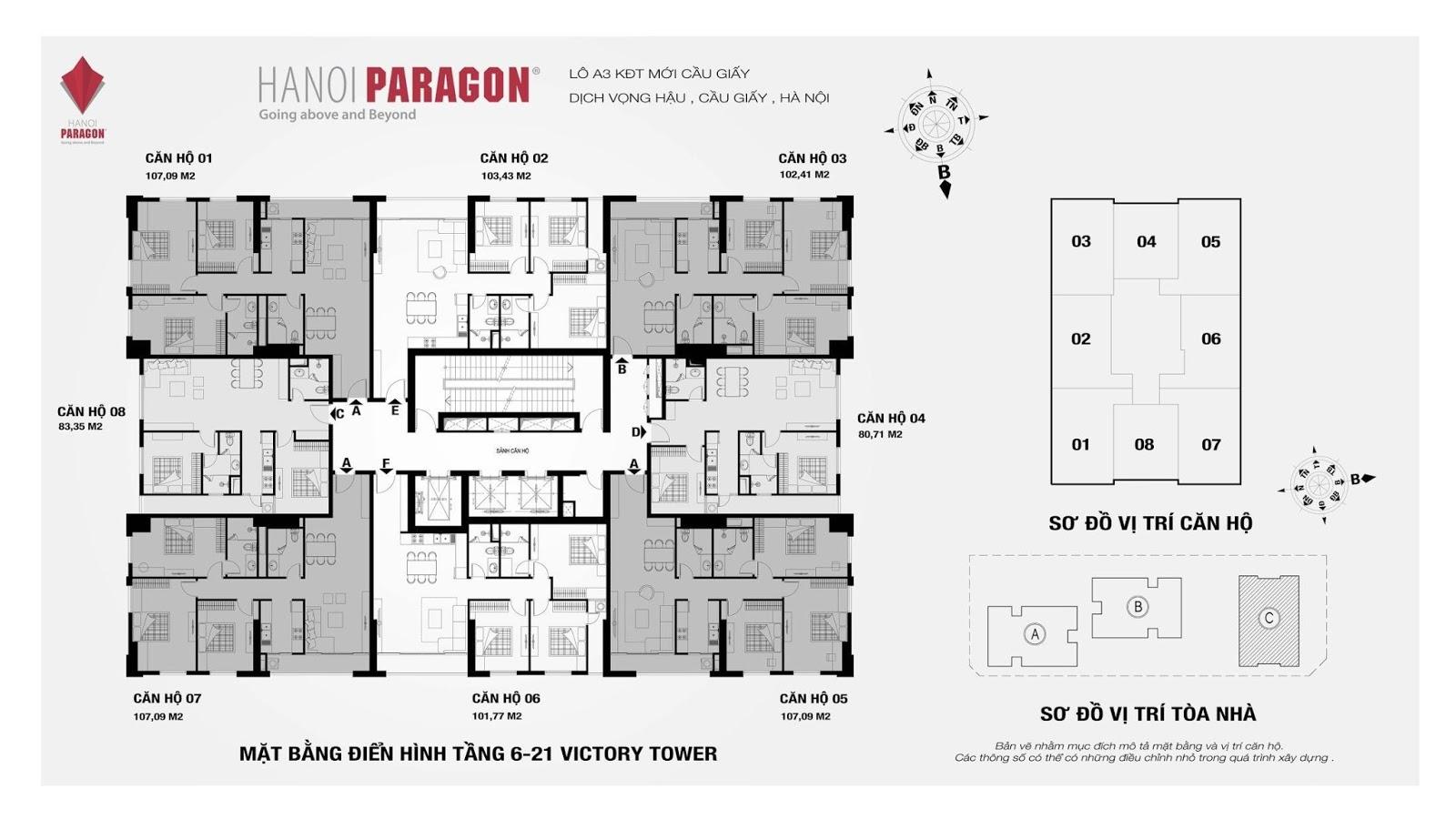 Mặt bằng căn hộ tầng 6 - 21