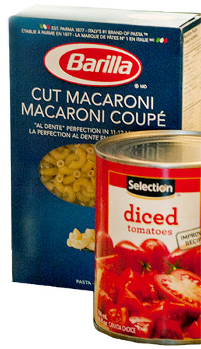 A box of Barilla Pasta and a tine of Selection brand diced tomatoes.