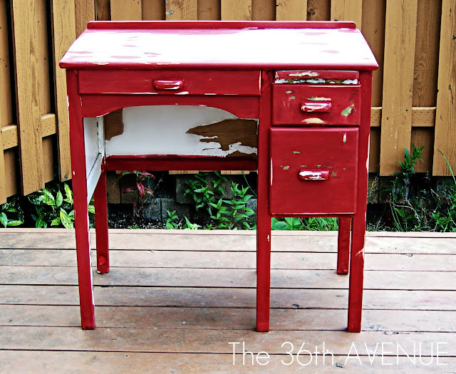 Super cute red desk makeover at the36thavenue.com