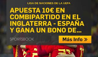 betfair promocion 10 euros Inglaterra vs España 8 septiembre