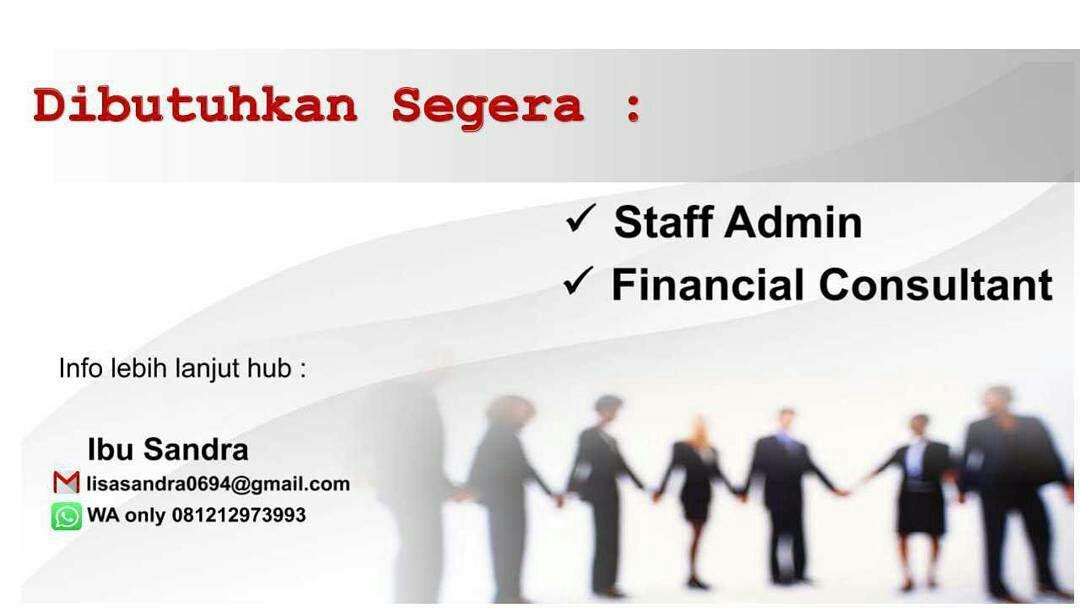 Lowongan Kerja Staff Admin dan Financial Consultant Bandung Agustus 2017