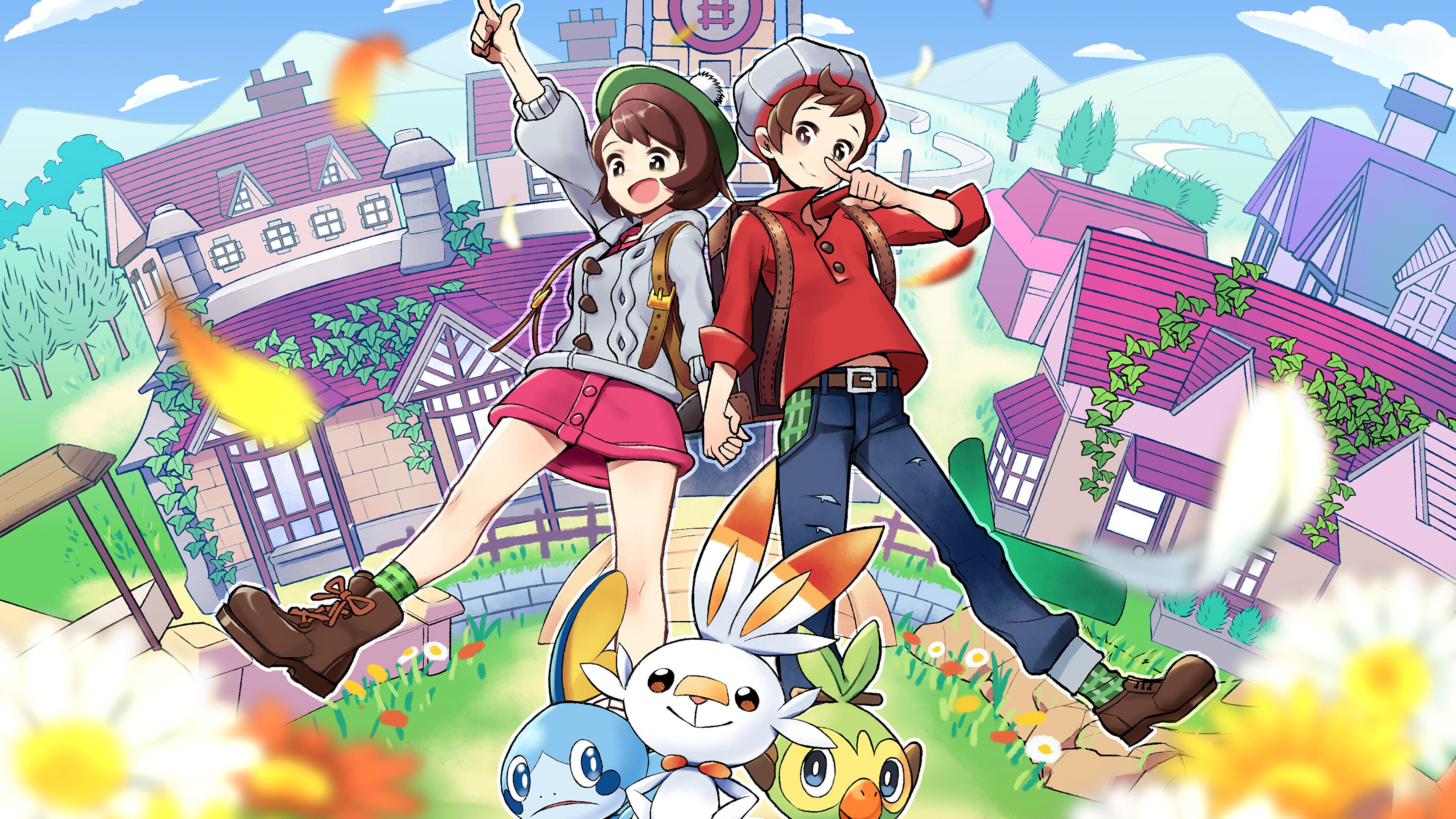 Pokemon Sword And Shield Pokemon Trainer Starter Pokemon 4k