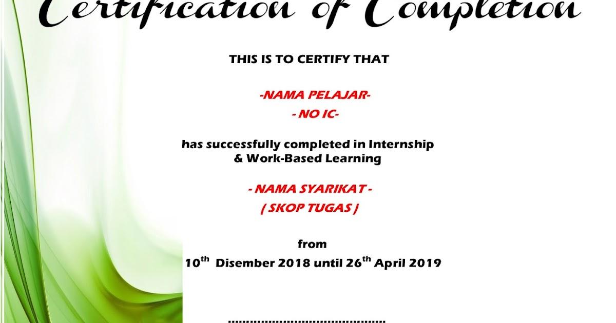 Li Sesi Disember 2018 Penyediaan Sijil Certificate Of Completion Bagi Pelajar Yang Akan Tamat Li Upli Psmza
