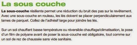 Information sur la sous couche pour parquet à utiliser pour un plancher chauffant