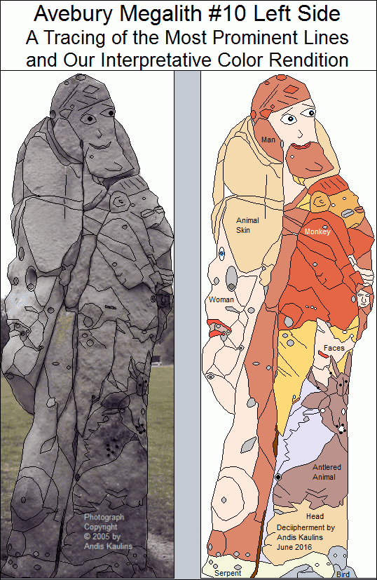 Avebury Stone #10 Left Side Tracing and Trace in Color