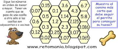 El camino decimal, El laberinto decimal, Busca los números, Números decimales, Retos matemáticos con decimales, Desafíos matemáticos, Desafíos matemáticos con decimales