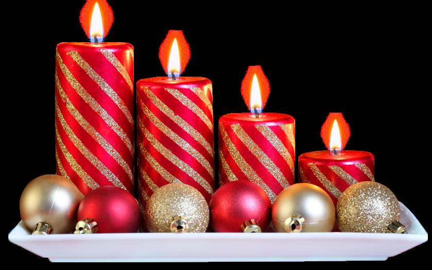 Adornos con velas y bolas para navidad  con fondo transparente