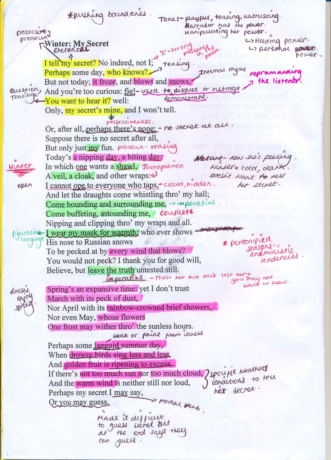 English Literature Poem Analysis Winter My Secret