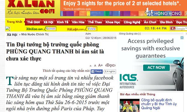 Rộ tin đồn đại tướng Phùng Quang Thanh 'bị ám sát'