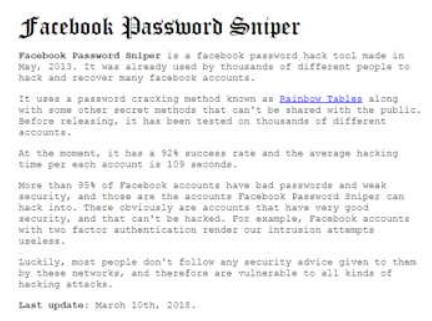 What is Facebook Password Sniper