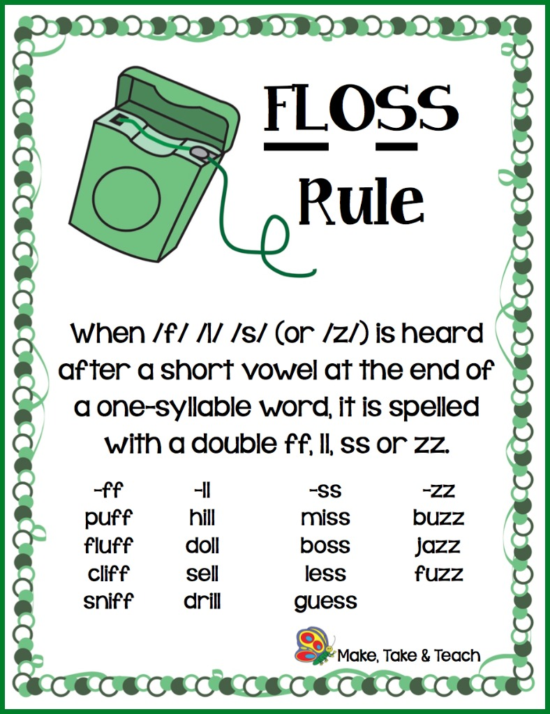 Hes First Grade: Spelling Update: 1.8 -Ff, -Ll, -Ss, & -Zz