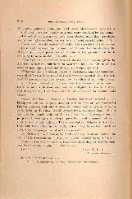 1908 proclamation to select replacement councilor, English version continued.