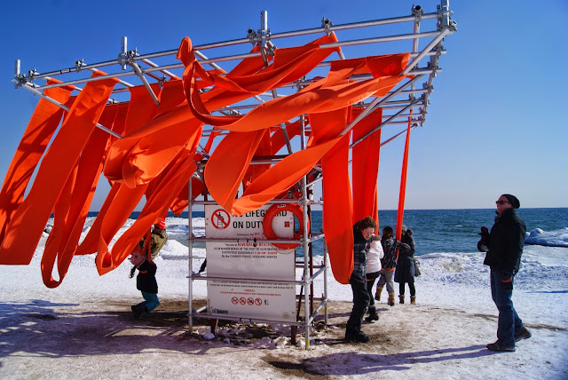 The Winter Stations Design Competition at The Beaches in Toronto, art, installations, kew, balmy, warm, culture, artmatters, snow, lake ontario, exhibit, exhibition, the purple scarf, melanie.ps, canada, lifeguard tower, sling swing, ed butler, daniel wiltshire, frances mcgeown