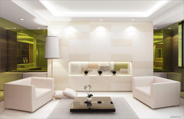 Ruang tamu minimalis modern dengan perpaduan lighting yang seimbang