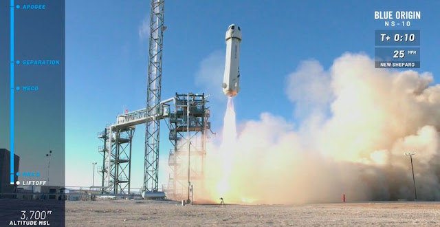 Blue Origin's New Shepard rocket lifts off from West Texas on Wednesday. Credit: Blue Origin