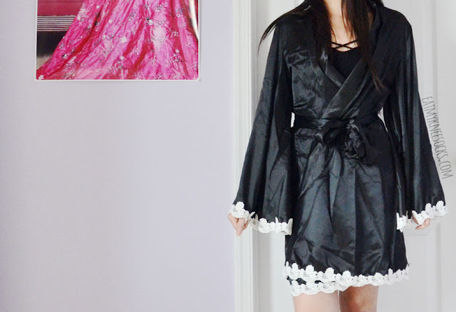 Silky bell sleeve wrap satin kimono robe from SheIn, with white lace trim and matching belt.
